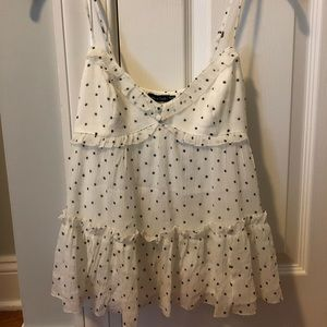 Abercrombie white polka dot tank top